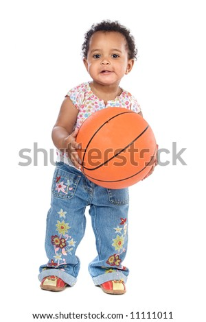 Adorable baby whit basketball a over white background - stock photo