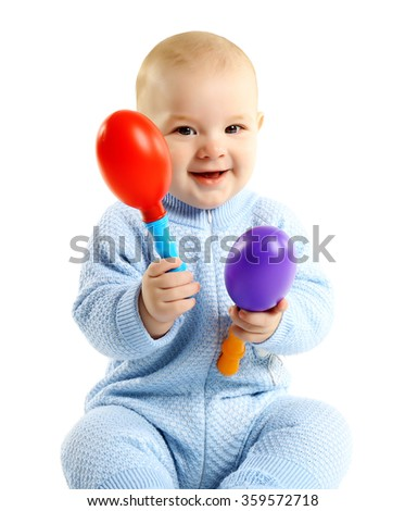 Adorable baby with plastic musical toy isolated on white background - stock photo