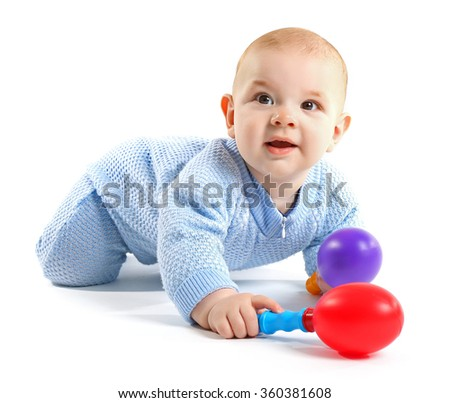 Adorable baby with plastic musical toys isolated on white background - stock photo