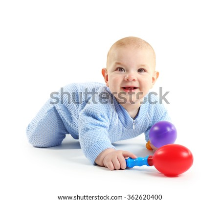 Adorable baby with plastic musical toys isolated on white background
