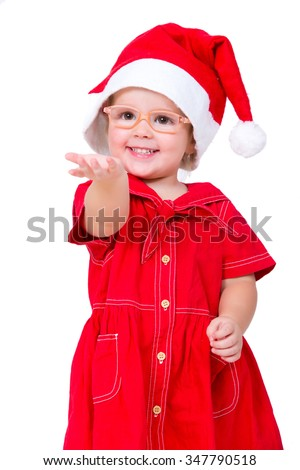 Adorable beautiful laughing christmas santa baby girl with glasses  wearing a santa's hat. Isolated on white. - stock photo