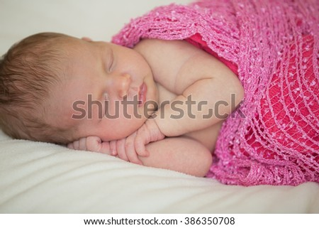 Adorable beautiful newborn baby girl. Maternity and newborn concept. - stock photo