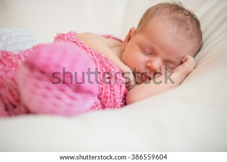 Adorable beautiful newborn baby girl. Maternity and newborn concept. - stock photo