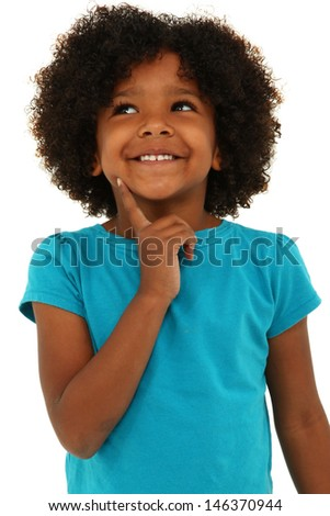 Adorable black girl child thinking with a smile over white. - stock photo