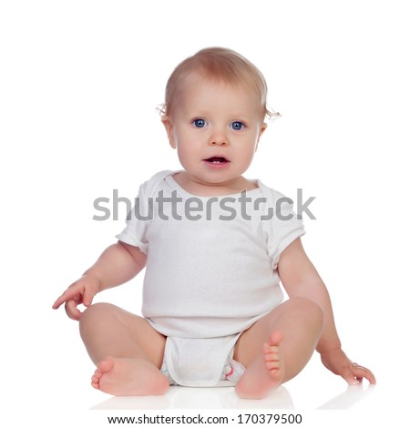 Adorable blonde baby in underwear isolated on a white background - stock photo