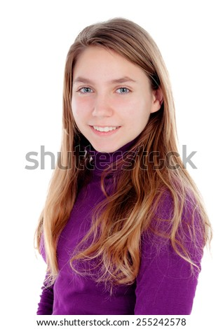 Adorable blonde teenager looking at camera isolated on a white background - stock photo