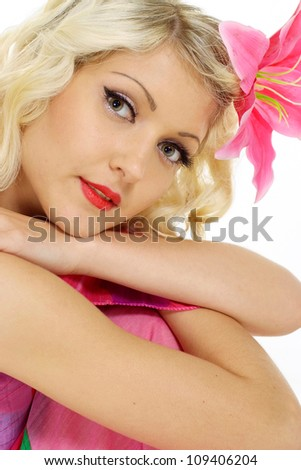 Adorable blonde with a bright appearance on a white background