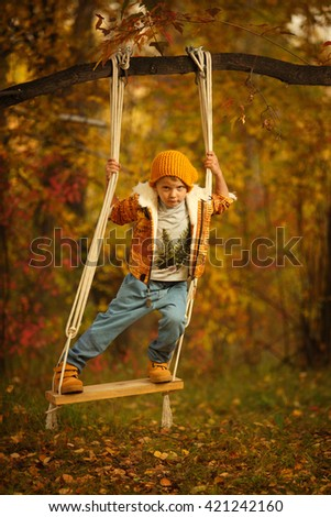 Adorable boy having fun on a swing in beautiful autumn day. Elegant boy swinging on a swing, like a male. Yellow autumn childhood sunset. - stock photo