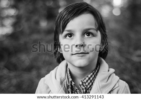 adorable boy portrait,black and white photography