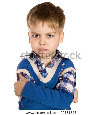 Adorable boy upset isolated over white background - stock photo
