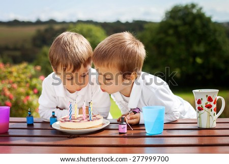 Adorable boys, blowing candles on a birthday cake in the garden, outdoor - stock photo