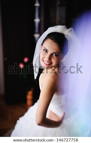 adorable brunette  bride at home in the morning