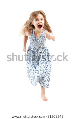 adorable caucasian 5 year old girl running and screaming over white - stock photo