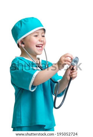 Adorable child boy uniformed as doctor isolated on white background - stock photo