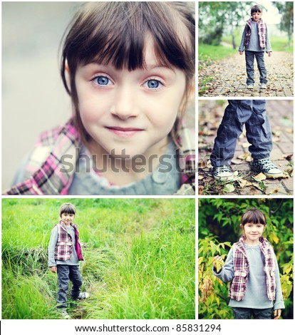 Adorable child girl indian summer time collage, set of 5 pictures