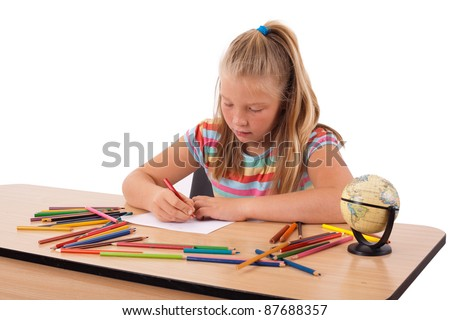 Adorable child playing over isolated background