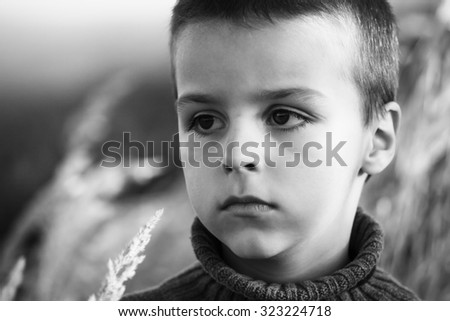 adorable child portrait black and white photography