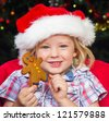 Adorable child wearing a santa hat and holding a homemade decorated gingerbread man cookie. Christmas tree lights in soft focus in background. - stock photo