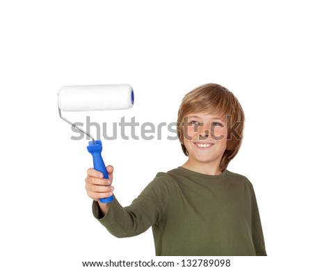 Adorable child with a paint roller isolated on a over white background - stock photo