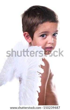adorable child with angel wings