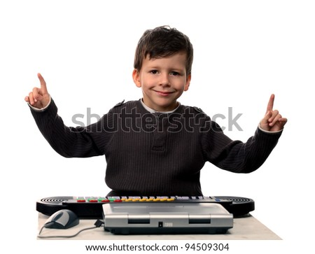 Adorable child with electric piano and laptop hands up, isolated on white