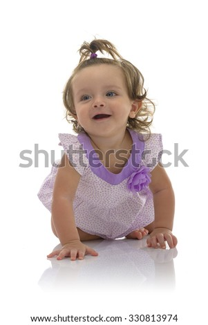 Adorable Crawling Young Caucasian Girl Isolated on White Background - stock photo