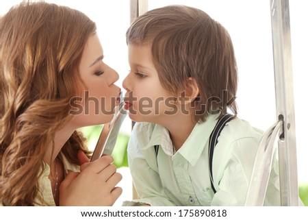 Adorable, cute kid and mother