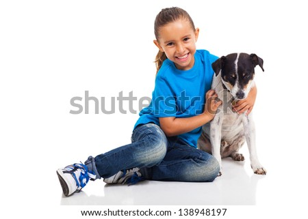 adorable cute little girl and her pet dog isolated on white