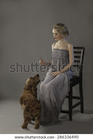 Adorable dog begging for treat held in the hand of a pretty blonde girl - stock photo