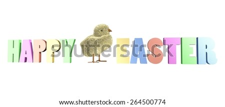 Adorable easter chick and colorful three dimensional text saying happy easter - stock photo
