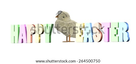 Adorable easter chick with sunglasses. Three dimensional text saying happy easter - stock photo
