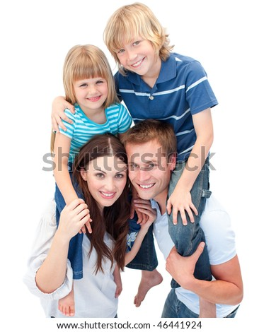 Adorable family enjoying piggyback ride against a white background