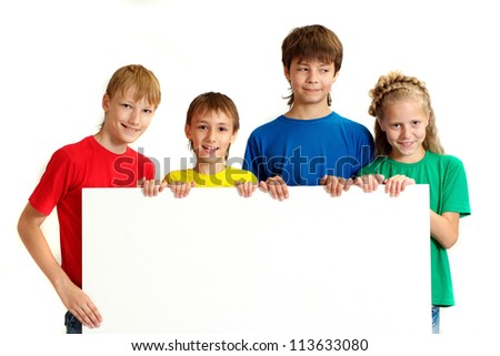 Adorable family in bright T-shirts on a white background - stock photo