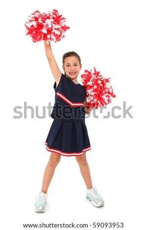 Adorable five year old french american girl cheerleader over white with pompoms. - stock photo