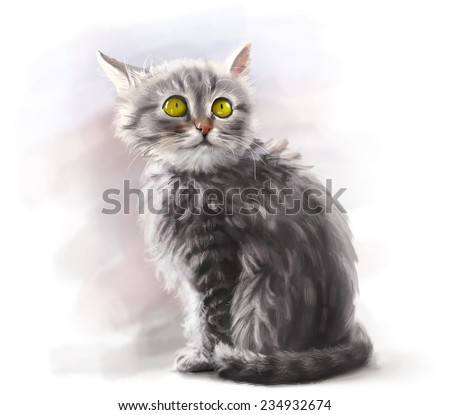 Adorable fluffy gray kitten, cute pet, cat animal - digital paint - stock photo