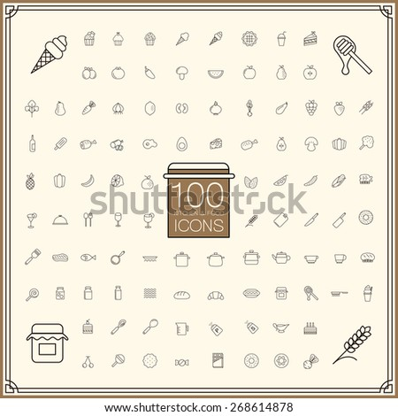 adorable food and kitchenware icons set over beige background - stock photo