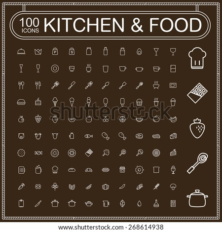 adorable food and kitchenware icons set over brown background - stock photo
