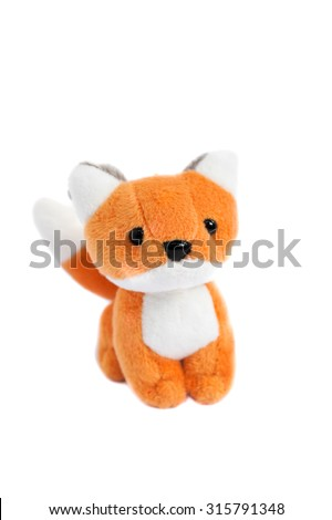 Adorable Fox Plush Doll, Soft Toy Isolated on White Background - stock photo