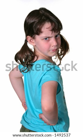 Adorable Frowning Young Child - stock photo