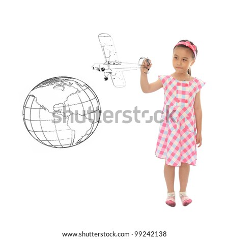 Adorable girl drawing air travel Around the world - stock photo