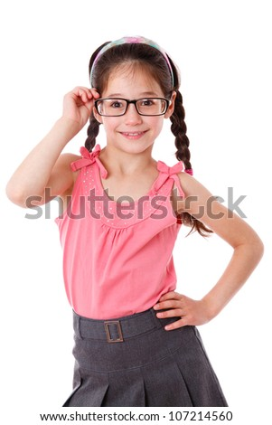 Adorable girl holding a glasses, isolated on white - stock photo