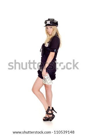 Adorable girl in a uniform of  police officer on a white background - stock photo