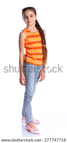 Adorable girl posing looking at camera. Isolated on the white background
