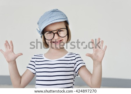 Adorable Girl Smiling Playful Happiness Concept - stock photo