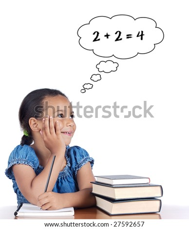 Adorable girl studying mathematics on a over white background - stock photo