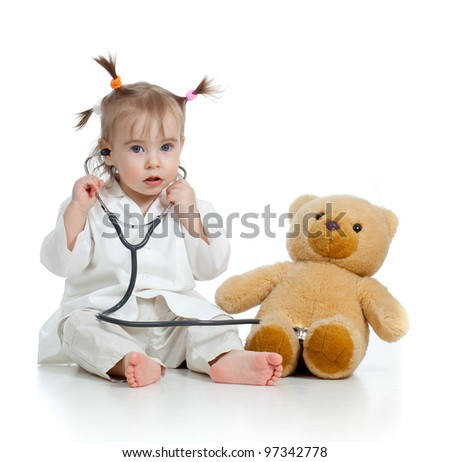 Adorable girl with clothes of doctor isolated on white - stock photo