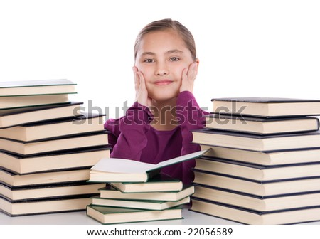 Adorable girl with many books on a over white background