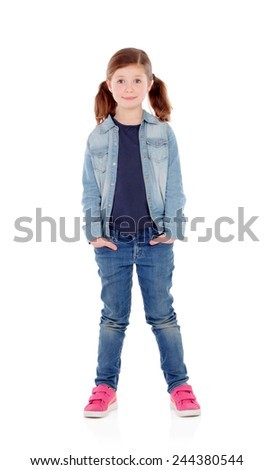 Adorable girl with pigtails looking at camera isolated on a white background - stock photo