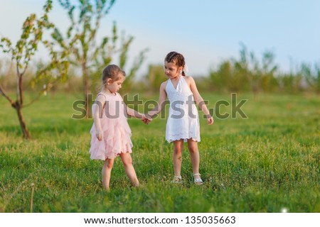 Adorable  girls playing on the meadow