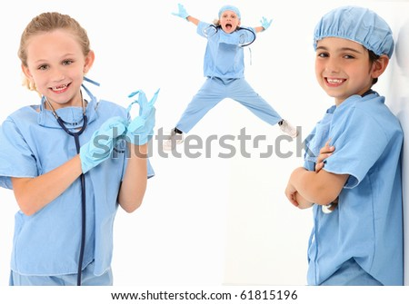 Adorable group of 7 year old children dressed as medical surgeons over white background. - stock photo